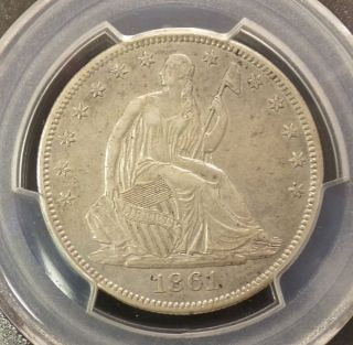 1861 Liberty Seated Half Dollar Pcgs Xf 45 Civil War Era Us Silver Extra Fine photo