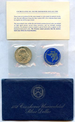 1972 - S Uncirculated Silver Eisenhower Ike Dollar & Blue Envelope - 2.  1 Million photo