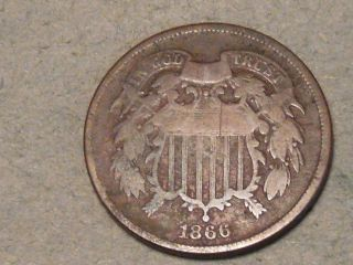 1866 Two Cent Piece 5193b photo