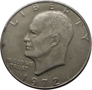 1972 Denver President Eisenhower Apollo 11 Moon Landing Dollar Usa Coin I44909 photo