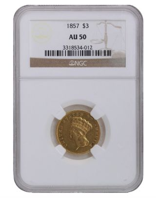 1857 Ngc Au50 $3 Princess Head Three Dollar Gold Coin With A Great Look To Her photo