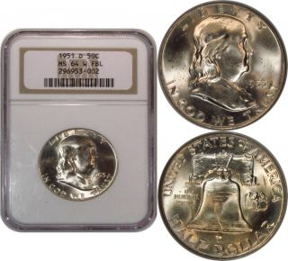 Gem Bu 1951 - D Franklin Half Dollar Ngc Ms64fbl Full Bell Lines photo