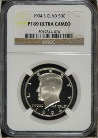 1994 S Clad Proof Kennedy Half Dollar Ngc Pf69 Ultra Cameo photo