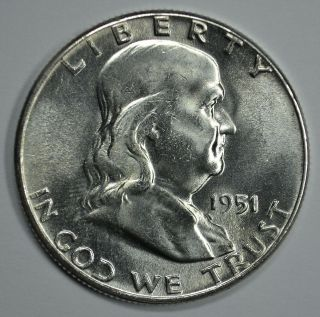 1951 P Franklin Silver Uncirculated Half Dollar Bu See Store For Discounts (gr04) photo
