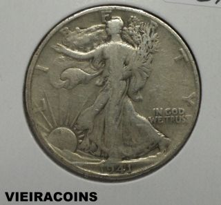 1941 - S Liberty Walking 50 Cents - 90 Silver - - 5329 photo