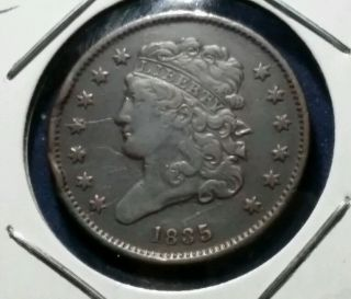 1835 1/2¢ Classic Head Half Cent Details Coin W/ Obv,  Rev Marks photo