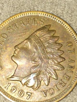 1907 Indian Head Cent - Lustrous Scarce photo
