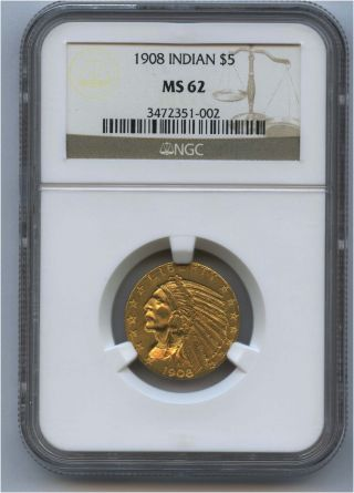 1908 $5 Indian Gold Coin Ist Year Of Issue Ngc Ms 62 photo