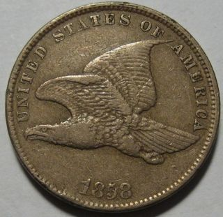 = 1858 Vf/xf Flying Eagle Cent,  Eye Appeal,  Small Letters, photo