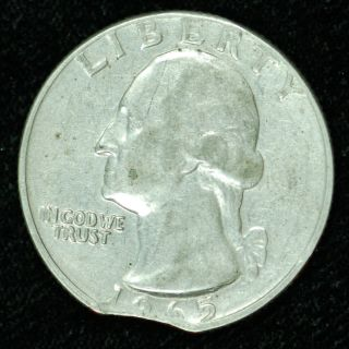 Clipped 1965 Washington Quarter In Au Neat Error photo