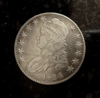 1824 Silver Capped Bust Half Dollar - Vf Detail,  Luster photo