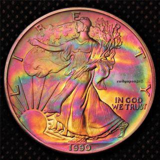 1990 American Silver Eagle (ase) Rainbow Toned Cartwheel Luster Bu,  Bullion photo