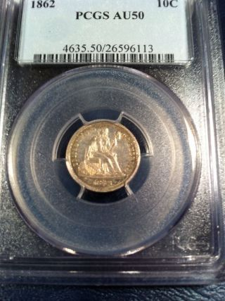 1862 Seated Dime Pcgs Au50 Tough Civil War Date photo