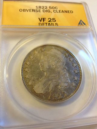 1822 Anacs Vf 25 Half Dollar photo