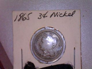 1865 Nickel Three Cent - Circulated Coin - Three (3) Cent photo