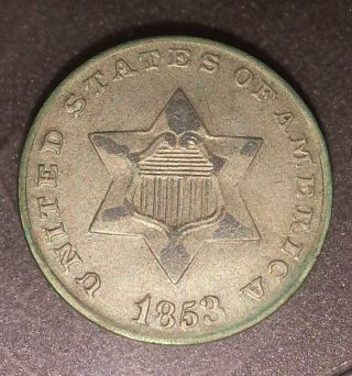 1853 U.  S.  3 Cent Silver Very Rare Looks Au photo