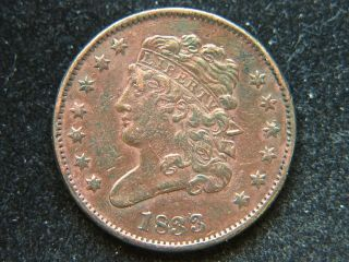 1833 1/2c Bn Classic Head Half Cent Sharp Detail Cleaned Type Coin photo