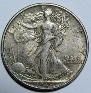 1945 P Walking Liberty Half Dollar 90 Us Silver photo