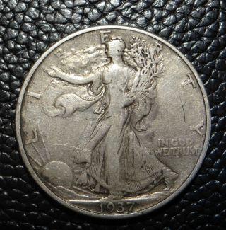 1937 P Walking Liberty Silver Half Dollar photo