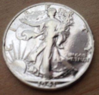 1941 Silver Circulated Walking Liberty Half Dollar - photo