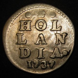Silver Overdate 1737/36 Colonial Old Dutch Colonial York Dime Hollandia photo