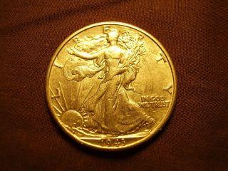 1943 D Walking Liberty Silver Half Dollar,  Vg Album Coin.  C335 photo