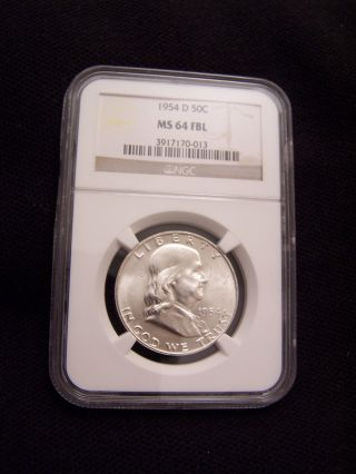 1954 - D Franklin Half Dollar Ngc Ms64 Fbl photo