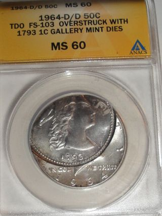 1964 - D/d Tdo Kennedy 1/2 Dollar Dbl Overstruck W/ 1793 1c Gallery Die Ms - 60 photo