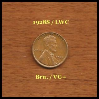 Lincoln Wheat Cent: 1928 - S / Brown: Vg photo
