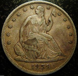 1859 - O Seated Liberty Half - Toning - Eye Appeal photo