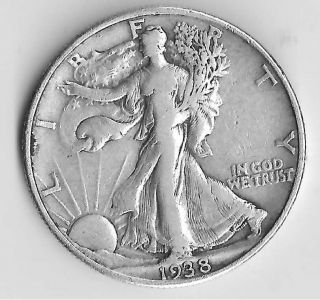 Vf - 1938 - Liberty Walking Half Dollar 90 Silver - photo