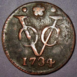 Overdate 1734/26 York Penny Voc Holland Dutch Colonial Penny Cent photo