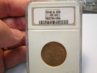 Better Date 1908 S 10 Dollar Indian Gold Coin In Ngc Xf40 Extra Fine photo