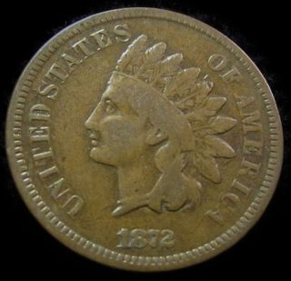 1872 Indian Cent.  Tough Date.  Sharp,  Wholesome,  & Very Appealing Vg,  Nr photo