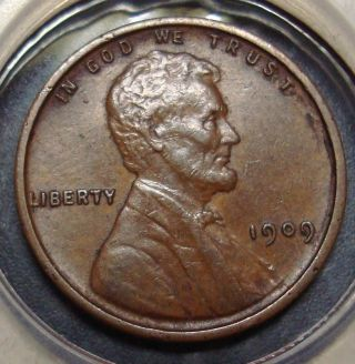 (inv.  13) Almost Unc.  Brown 1909 Vdb Lincoln Wheat Cent Cent Penny photo
