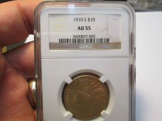 Better Date 1910 S 10 Dollar Indian Gold Coin In Ngc Au55 About Uncirculated photo