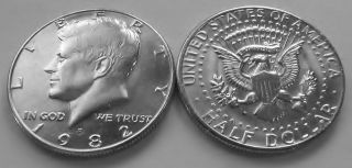 1982 - D Brilliant Uncirculated Kennedy Half Dollar. photo