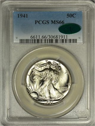 1941 Walking Liberty Silver Half Dollar Pcgs Ms66 - Cac Approved photo