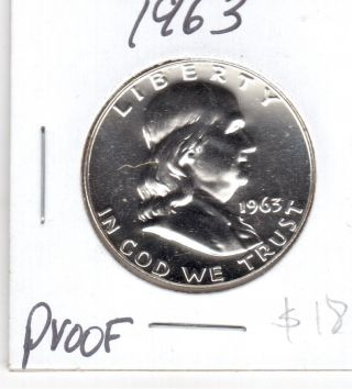 1963 Franklin Half Dollar Proof $15 photo