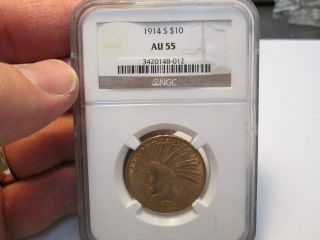 Better Date 1914 S 10 Dollar Indian Gold Coin In Ngc Au55 About Uncirculated photo