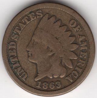 1863 U.  S.  Indian Head One Cent Penny Coin photo