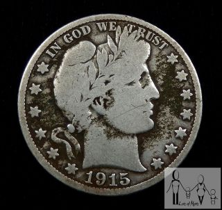 1915 S Good,  G,  Barber Silver Half Dollar 50c Us Coin photo
