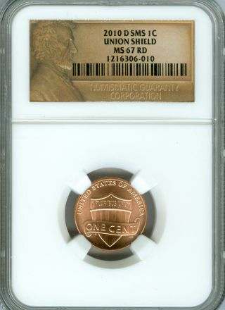 2010 D Lincoln Cent Ngc Ms 67 Rd Sms Lincoln Label. photo