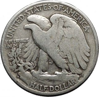 1943 Walking Liberty Half Dollar Bald Eagle United States Silver Coin I44627 photo