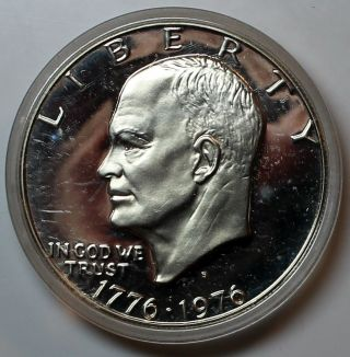 1976 - S Bicentennial Eisenhower Dollar Dcam Proof 40 Silver In Capsule Lz photo