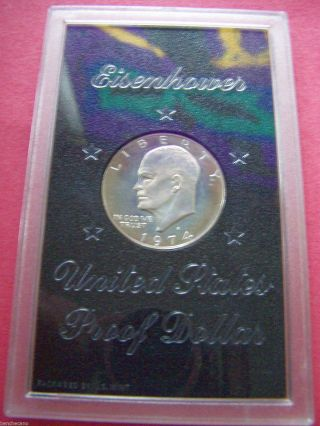 1974 S Eisenhower Proof Dollar In Case (40 Silver) photo
