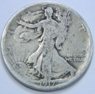 1917 - P U.  S.  Walking Liberty Silver Half Dollar Coin - Circulated - You Grade - 122906 photo