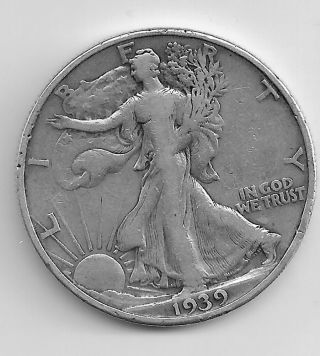 1939d Walking Liberty Half Dollar - Us 90 Silver Coin photo
