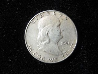 1950 Franklin Half Dollar 90 Silver Coin/bullion Circulated photo