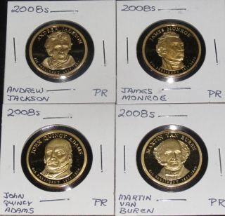 2008s President All Four Proof Dollars. photo